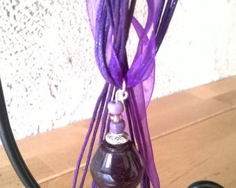 Big and purple organza necklace glass bead