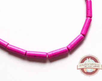 20 beads 1 hole 4x13mm pink howlite stones mm