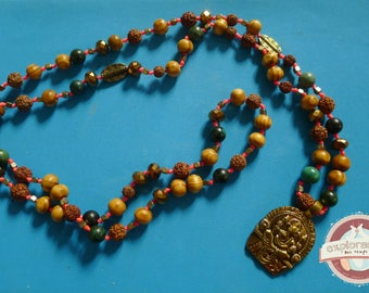 Necklace ethnic ganesh Golden seed mala wood and glass