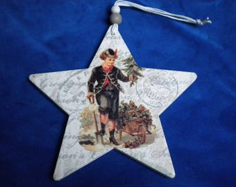 WOODEN STAR CHRISTMAS DECORATION TO HANG