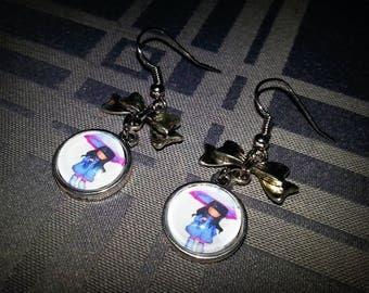 Children's earrings, 12mm, small umbrella girl glass cabochon