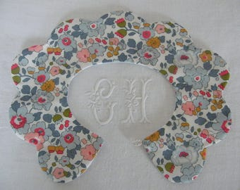 Collar removable scalloped reversible LIBERTY Betsy porcelain button 2/4/6/8 years