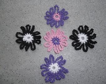 5 joliesfleurs crocheted by hand