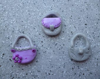 3 bags by hand in polymer clay 20 x 23 mm approx