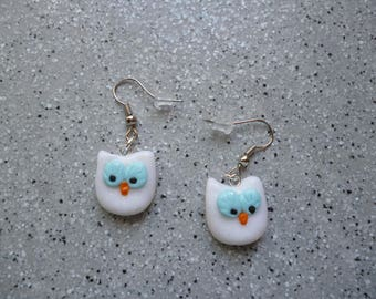 White and blue polymer clay OWL earrings handmade without molds