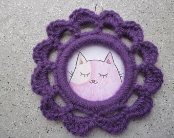 Frame round crocheted wool purple cat illustration