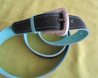 light reversible black blue leather belt