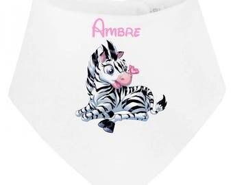 Personalized with name Zebra baby bandana bib