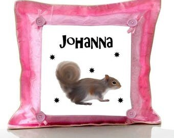 Cushion Pink squirrel personalized with name