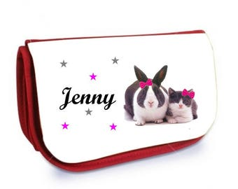 Clutch red makeup /crayons cat and rabbit personalized with name