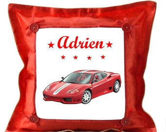 Red car pillow personalized with name