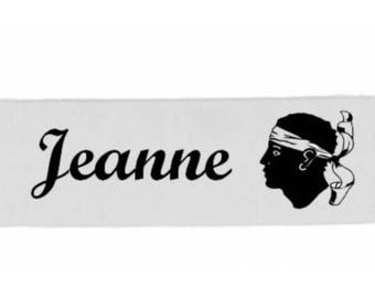 White girl Corsica personalized with name banner