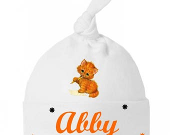 Baby ginger kitten personalized with name baby knot Hat