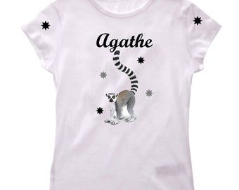 T-shirt lemur girl personalized with name