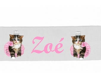 Girl white kittens personalized with name banner