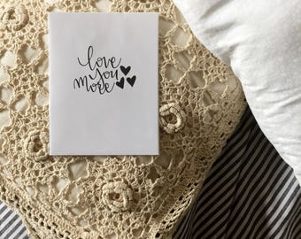 Hand lettering, black and white, homemade card, 4.5x6in, cardstock