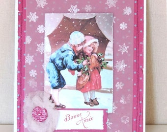 "greeting card ""happy new year"", pink, vintage image, handmade"