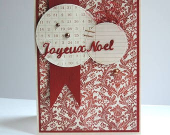 greeting card, Merry Christmas, vintage, red and beige