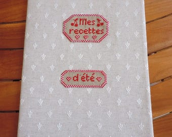protects recipe book, hand-embroidered