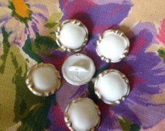 Set of six vintage buttons in Limoges porcelain