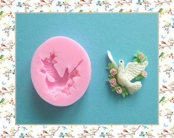 Silicone mold: doves with roses