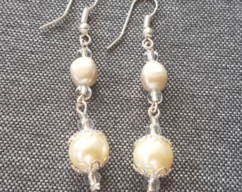 Bridal earrings or evening ivory glass beads