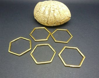 5 connectors geometric rings closed gold hexagon shaped 22 * 20mm (8SCD24)