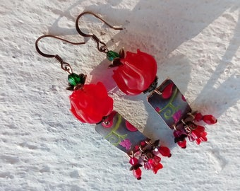 Earrings: the floral - sketches on brass