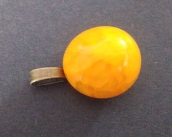 Yellow murano glass spun on bail (necklace attached) pendant