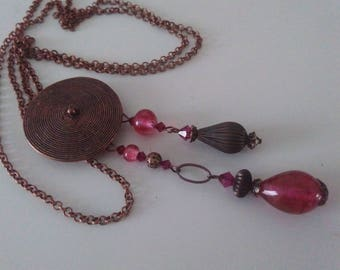 Necklace with Locket - copper beads and Lampwork Glass Beads