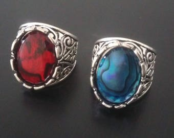 Ring Signet Ring - mother of Pearl abalone mother of Pearl abalone blue or red