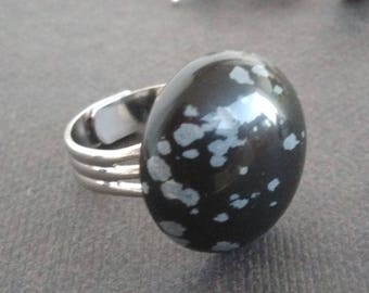 Low price: Obsidian glass ring