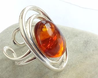 Cognac amber ring on silver plated