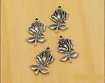 10 charms, roses and silver antique style vintage 26 * 17mm