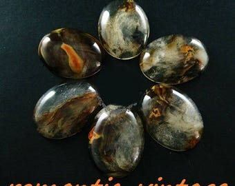 """Large cabochon """"cloudy"""" patterned, 40 * 30mm oval glass dome"""