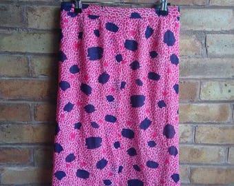 Vintage bright pink animal print skirt
