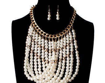 simulated Pearls Braid Choker Necklace Trendy Statement Multiple layers Necklace for women Fashion Jewelry