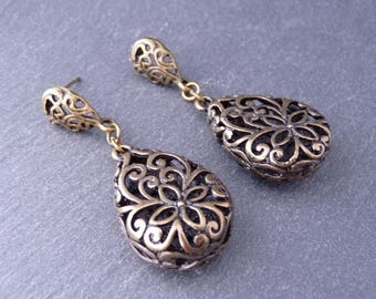 2 charms pendants drop twisted, ethnic, 26 x 17 mm - bronze