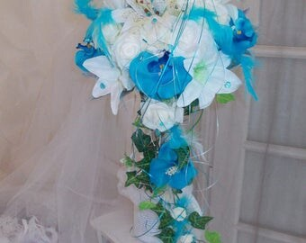 turquoise and white or ivory bridal bouquet