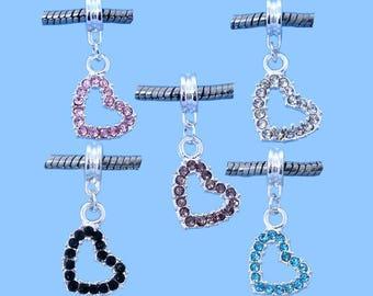 Set of 10 charms Heart Rhinestone 31 x 14 mm - C79