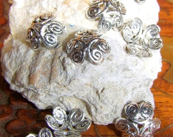 20 small ethnic dishes carved alloy Tibetan antique silver 1/2 cm