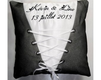 ring bearer pillow custom Deco corset with names