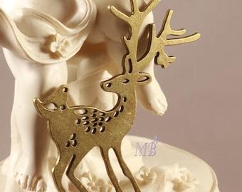 the deer and bird 60x45mm 1pendentif charm bronze