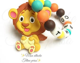"Custom silicone teething rattle ~ Lion ""Théo"" model"