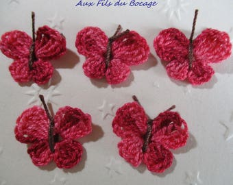 Butterflies crocheted in cotton red shades, set of 5, appliques