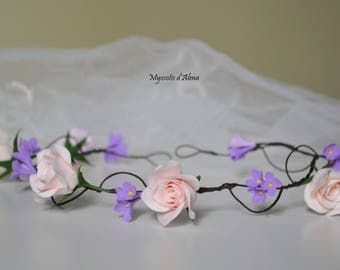 Crown headband with pastel flowers