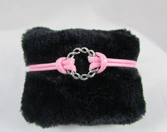 """Waxed cotton cord bracelet rose """"Round braid"""" with adjustable wrist"""