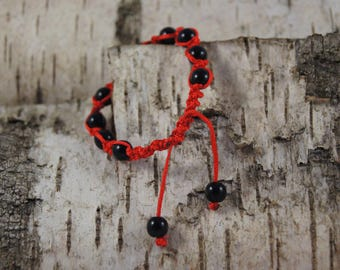 Macrame bracelet red color with Pearl - Ref.bmp003 inserts