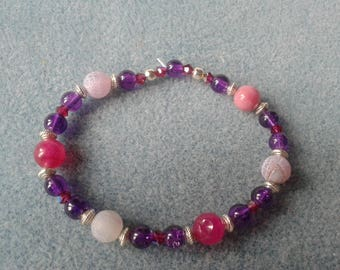 Ethnic chic purple and silver bracelet