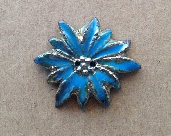 Fancy button - raku ceramic 2 holes - Fleur Silver Blue edelweiss - for textile or any other item